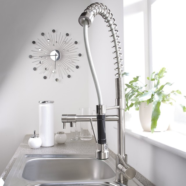 brushed nickel plated spring kitchen faucet with swivel spout and