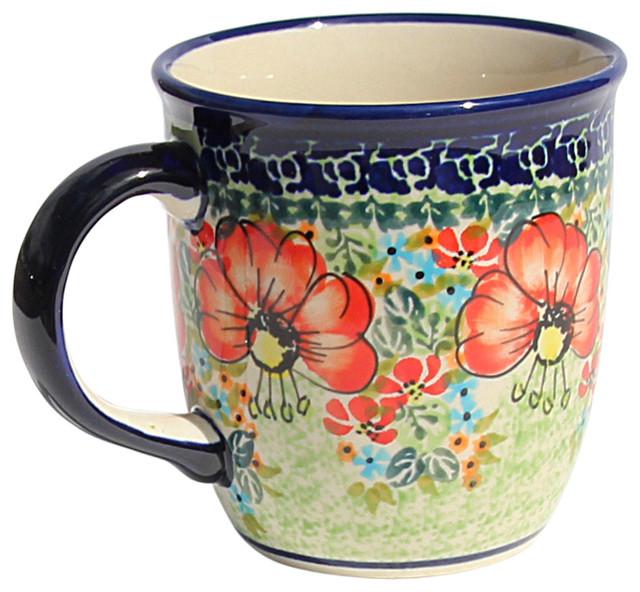Polish Pottery Coffee Mug, Pattern Number: 296ar