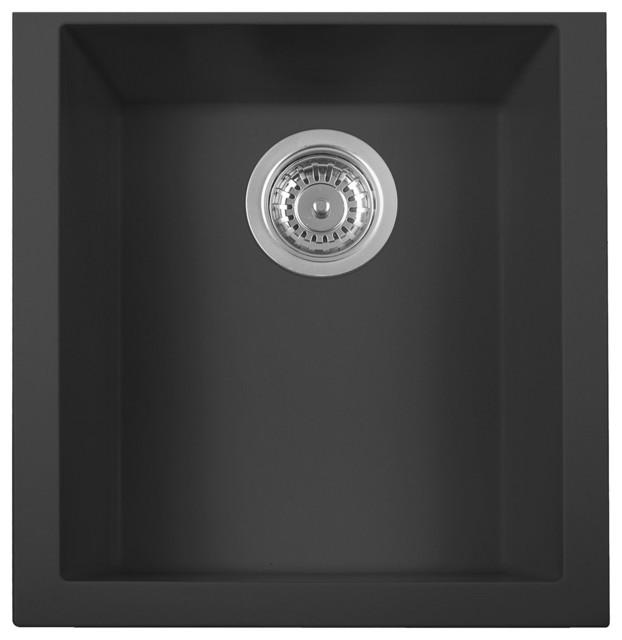 """17"""" Undermountrectangular Granite Composite Kitchen Prep Sink, Black."""