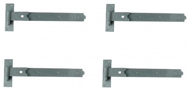 Pack of 4 Renovators Supply Manufacturing Strap Hinge Black Wrought Iron Fleur De Lis Strap Hinge 5 1//2 in