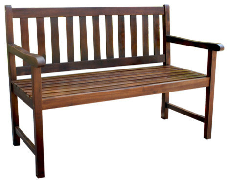 Outdoor 4 Foot Wood Bench, Brown.