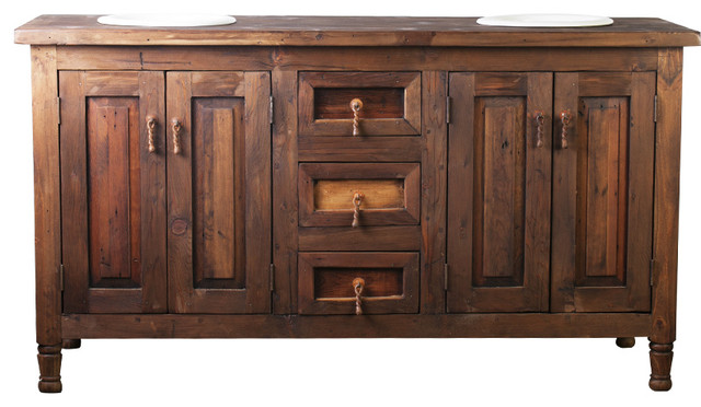 Beautiful For Sale Brown Varnished Teak Wood Base Vanity Cabin Rustic Bathroom