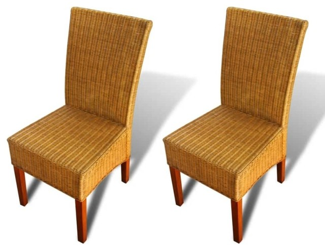 Awesome Vidaxl 2X Dining Chair Rattan Brown Handwoven Kitchen Home Seats Furniture Gmtry Best Dining Table And Chair Ideas Images Gmtryco