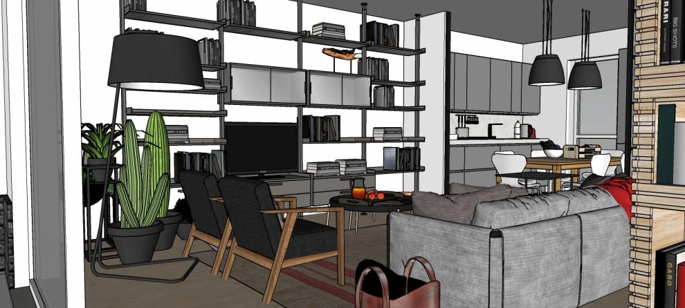 Render_Vista generale del soggiorno verso la cucina e l'ingresso (ipotesi 2).