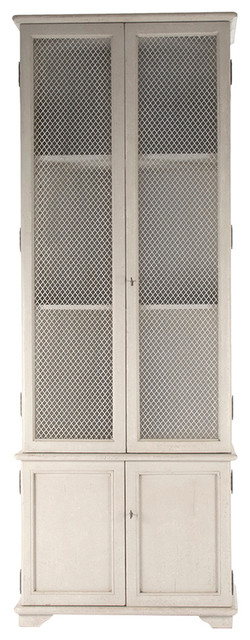 Zentique Inc. - Julius French Country Traditional White Wash Wood Display Storage Cabinet - View ...