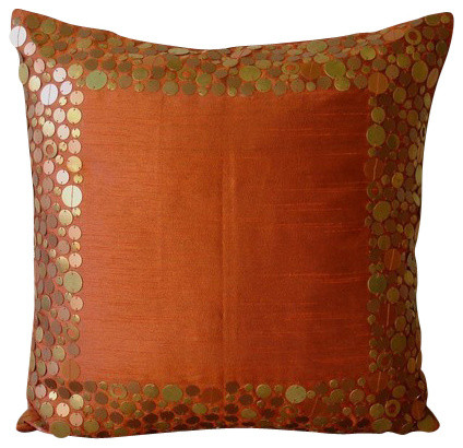 "Rust Metal Sequins Throw Pillows Cover, 20""x20"" Silk Pillows Cover, Rust Glamor."