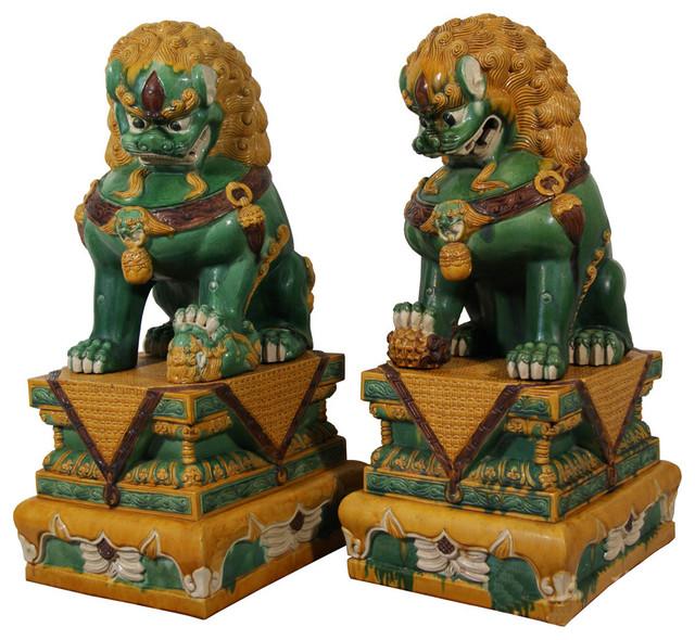 Consigned Chinese Antique Huge Colored Glaze Ceramic Foo Dog 13lp42