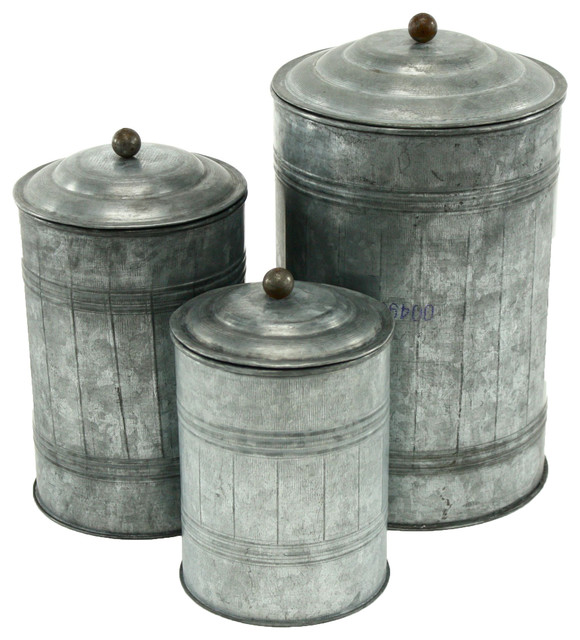 Galvanized Metal Canisters Set Of 3 Farmhouse Kitchen And Jars