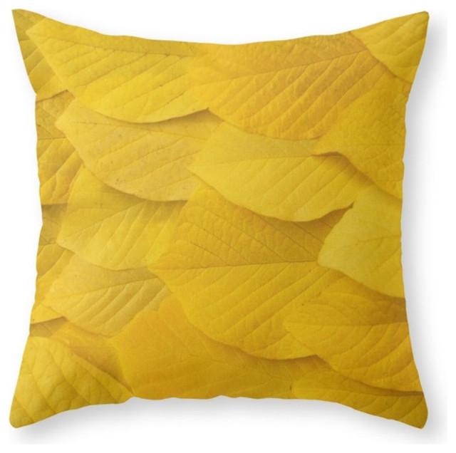 Modern Yellow Decorative Pillows : Yellow Leaves... Throw Pillow - Contemporary - Decorative Pillows - by Society6