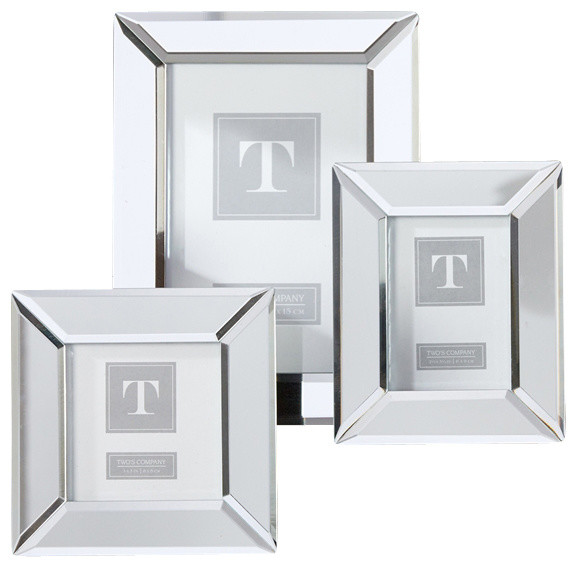 twos company 3 piece beveled mirror photo frames set transitional picture frames