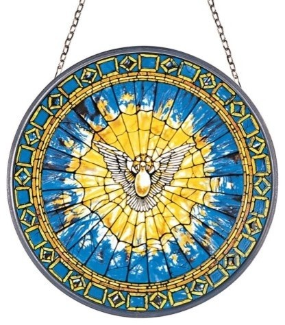 Christian Holy Spirit Dove Round Stained Tiffany Wall Window Inpired (1895)