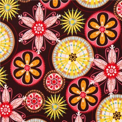 brown Michael Miller Polyurethane laminate fabric flowers