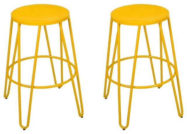 Adeco Yellow 26 Metal Counter Stools Set Of 2 Contemporary Bar