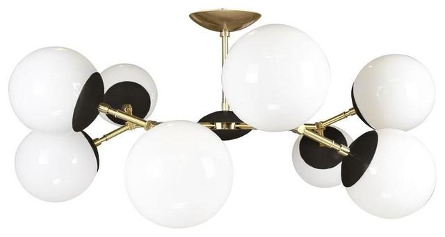 "Color Crown Globe Flush Mount, 32"", Black, Brass."