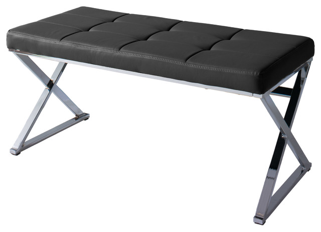Huntington Modern Black Leatherette Bench With X Shape Chrome Base. -1