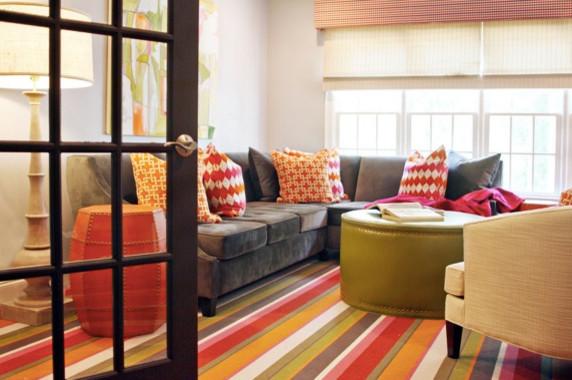 Trendy living room photo in Charlotte