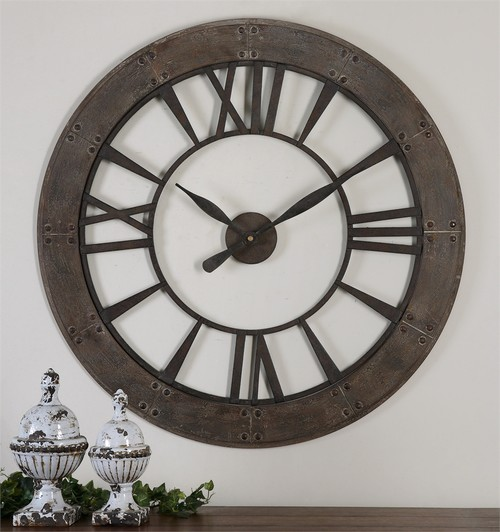 Large Clock Placement Over Fireplace Two Story Family Room