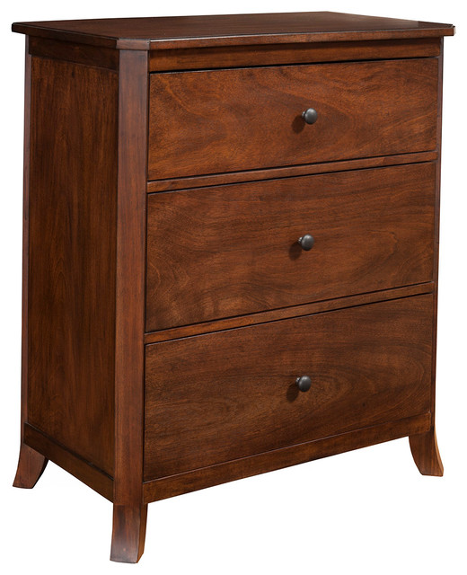 3-Drawer Small Chest, Mahogany Finish.