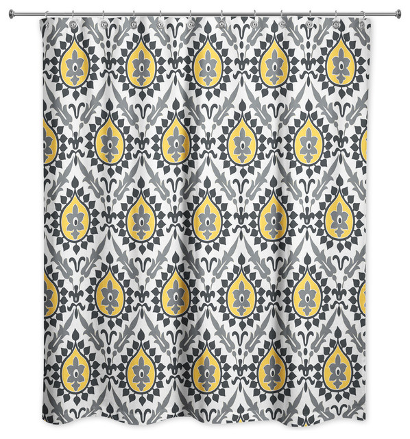 Ikat In Black And Yellow Shower Curtain, Gray White And Yellow Shower Curtains