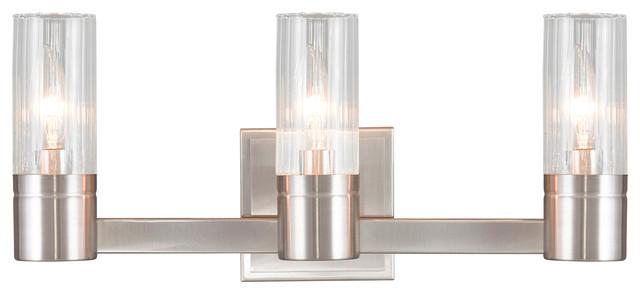 Livex Oldwick Modern Brushed Nickel 3 Light Bathroom: Livex Lighting Midtown Bathroom Vanity Lighting