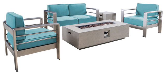 Coral Bay Outdoor 5-Piece Aluminum Chat Set, Light Gray Fire Table.