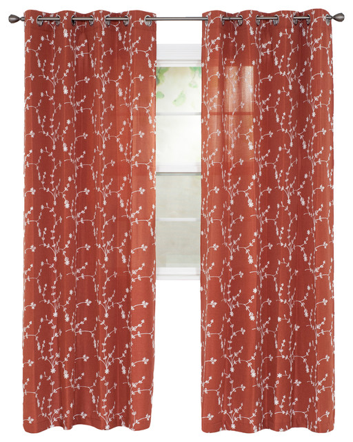 Set Of 2 Lavish Home Inas Embroidered Curtain Panel, 84.
