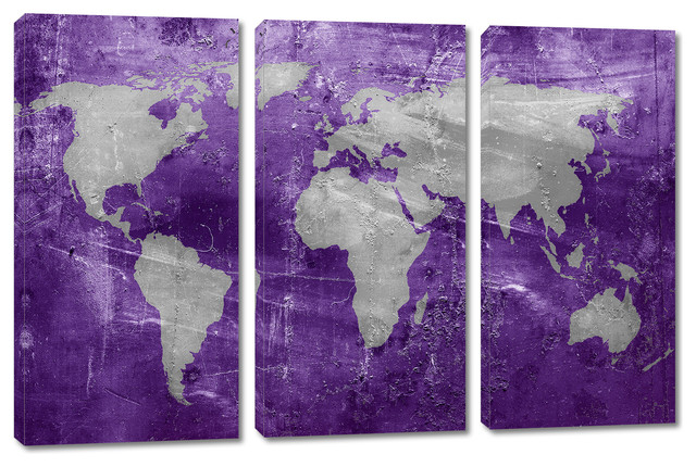 Purple and silver world map canvas print 3 panel split triptych purple and silver world map canvas print 3 panel split triptych wall art gumiabroncs Gallery