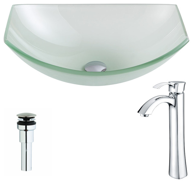Anzzi Pendant Series Deco-Glass Vessel Sink With Harmony Faucet, Polished Chrome