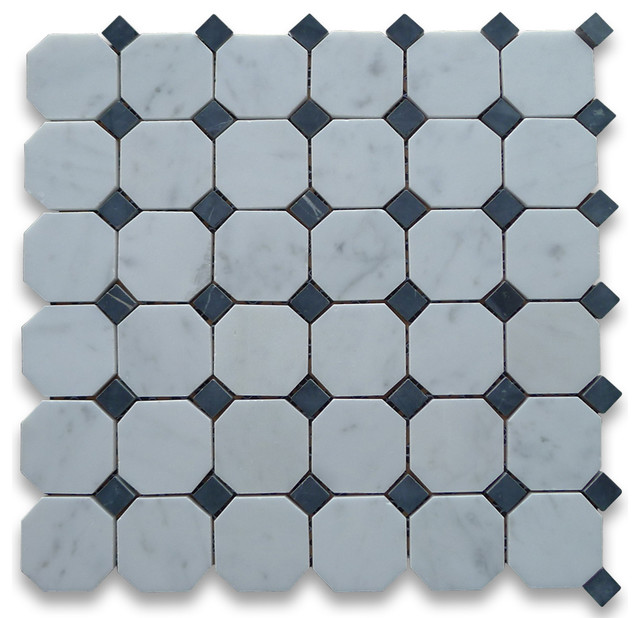 12x12 Carrara White Octagon Mosaic Tile With Black Dots Honed