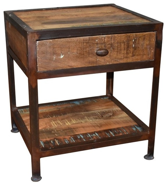 Shoptagr Ventura Solid Wood 1 Drawer Industrial End Table By