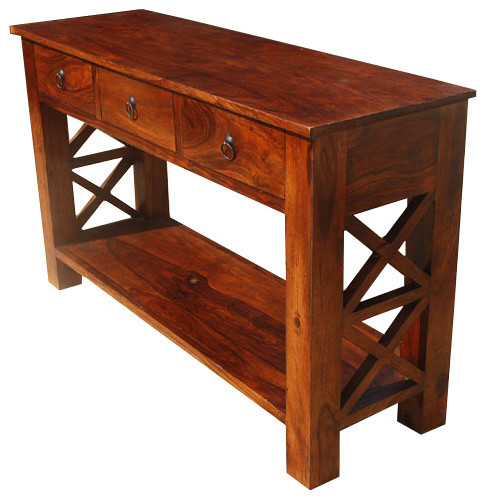 Lovely Rustic Entry Hall Console Table Solid Wood 2 Tier 3 Drawer Foyer Table  Rustic Console