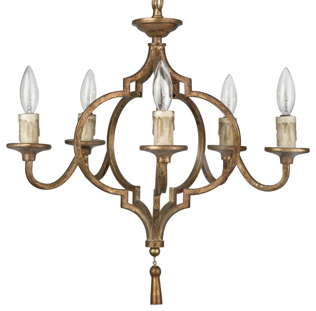 Coraline French Country Antique Gold Arabesque 5 Light Chandelier  traditional-chandeliers - Coraline French Country Antique Gold Arabesque 5 Light Chandelier