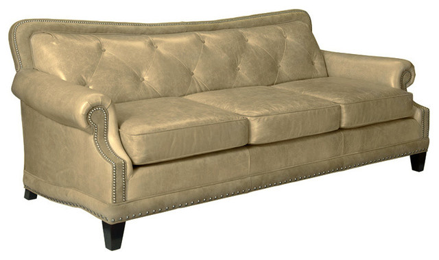 Ireland Tufted Leather Sofa, Taupe - Traditional - Decorative Pillows - by Leathercraft Inc