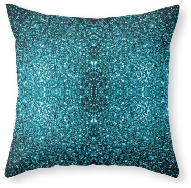 Beautiful Decorative Throw Pillows : Shop Houzz Society6 Beautiful Aqua Blue Glitter Sparkles Throw Pillow - Decorative Pillows