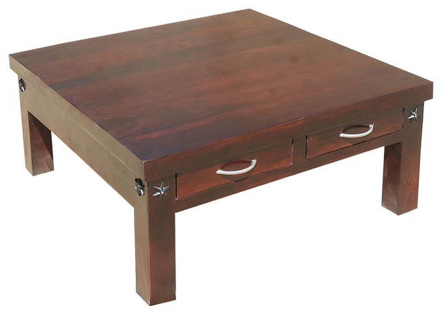 35 Amish Rosewood Square Coffee Table With 2 Drawers