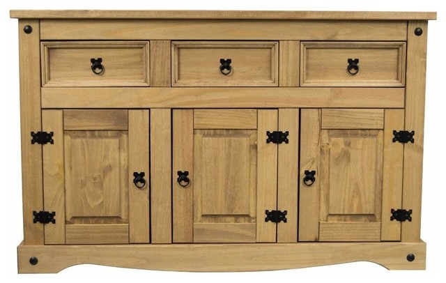 Traditional Sideboard, Solid Pine Wood With 3-Door and 3-Storage Drawers