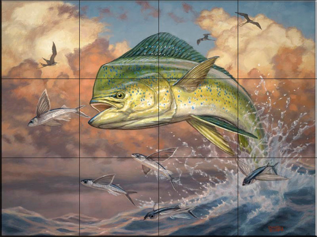 The tile mural store usa tile mural blue dolphin by for Dolphin tile mural
