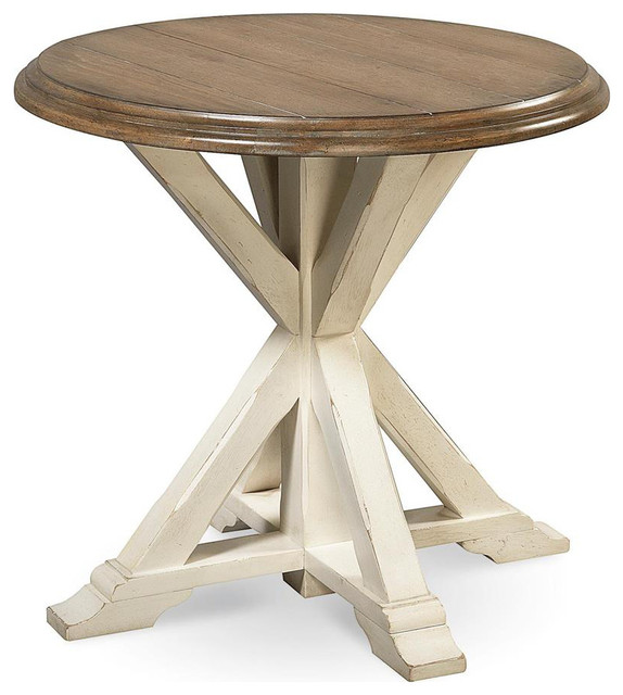 Universal Great Rooms Garden End Table, Terrace Gray And Washed Linen  Farmhouse Side