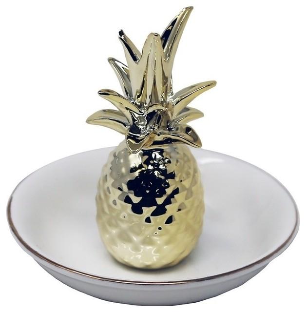 Sagebrook Home White/Gold Pineapple Ring Holder