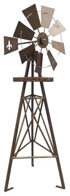 Rustic Fleur De Lis Tripod Windmill Farmhouse Garden