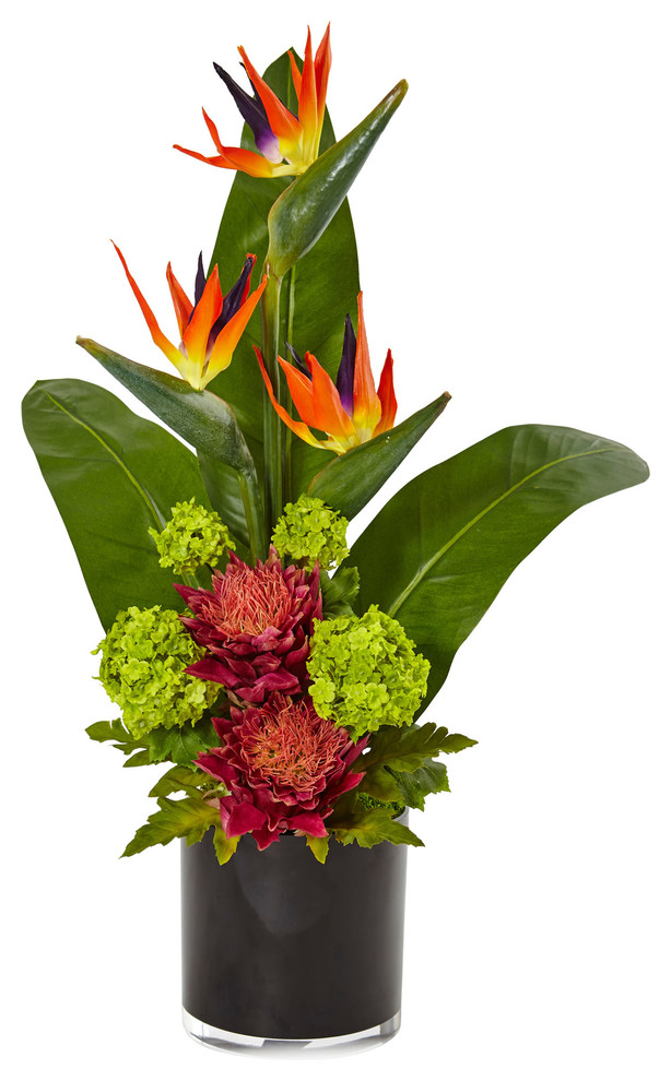 Bird Of Paradise Tropical Arrangement In Black Vase Tropical Artificial Flower Arrangements By Nearly Natural Inc