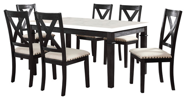 Picket House Furnishings Bradley 7 Piece Dining Set Table, 6 X Back Side