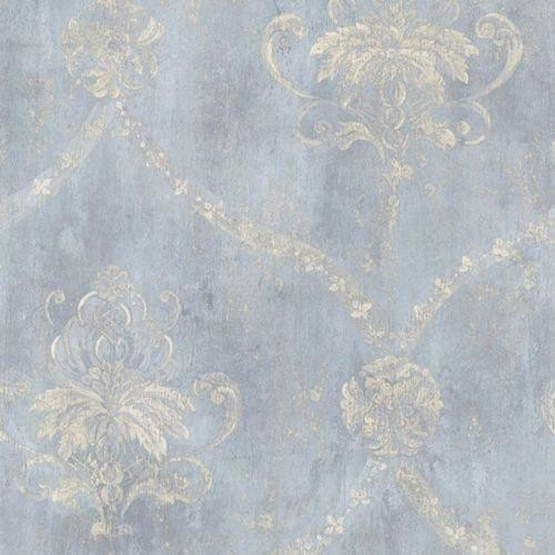 Blue And Cream Weathered Damask Wallpaper, Single Roll.