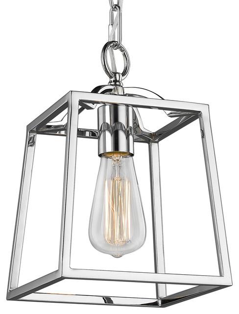 1 Light Edison Bulb Mini Pendant, Chrome