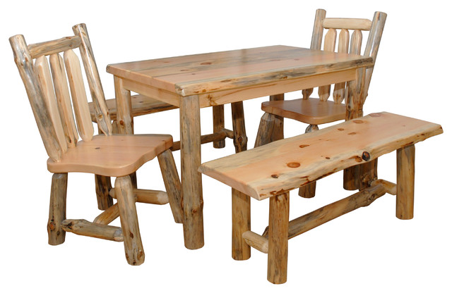Pine Log Live Edge Slab Top 5' Dining Table With Chairs and Benches, 5-Piece Set by Furniture Barn USA