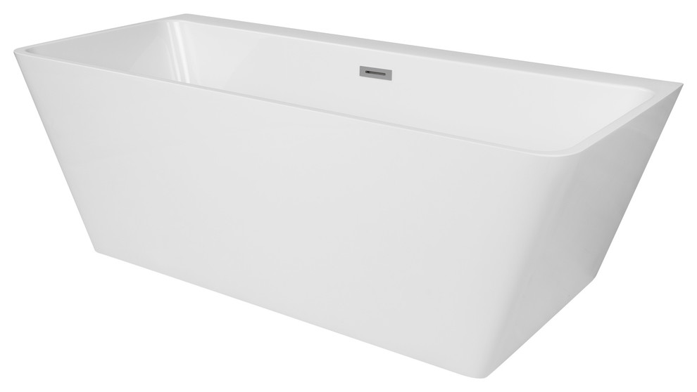 Drain /& Overflow Assembly Included XDA1427001 Shower cUPC certified MAYKKE Malibu 67 Modern Rectanglar Acrylic Bathtub Easy to Install Freestanding White Soaker Tubs for Bathroom