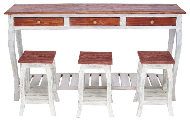 Mahogany Wood Console With 3 Stools, Natural Textures Farmhouse Console  Tables