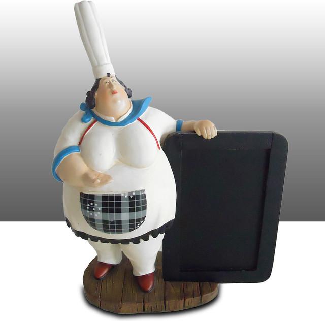 Bistro Lady Chef Kitchen Statue Menu Board Holder Table Art Decor