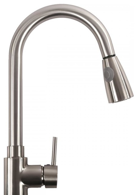 """16"""" Pull-Out Brushed Nickel Kitchen Sink Faucet Spray Swivel."""