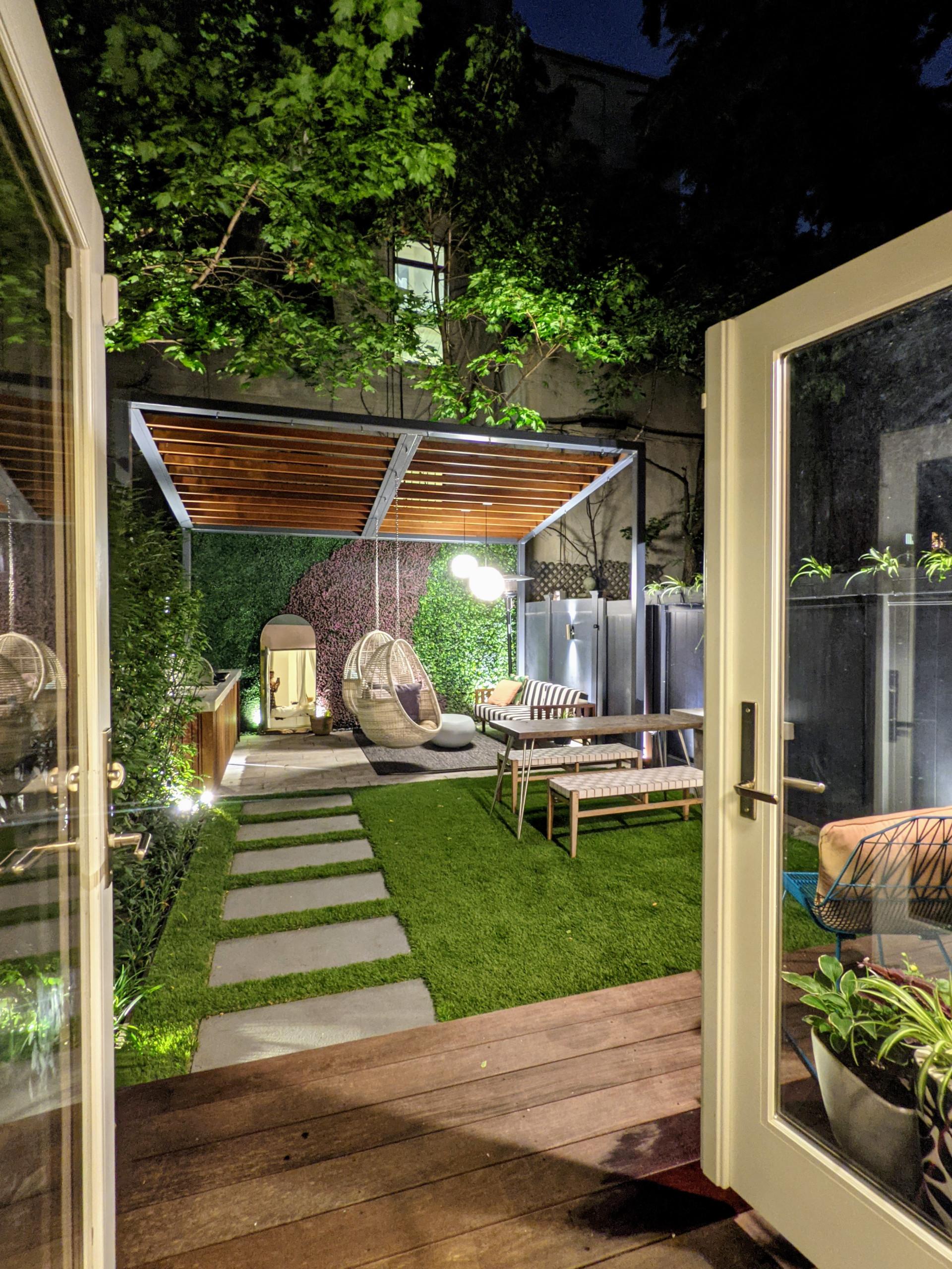 Harlem Backyard with slanted pergola